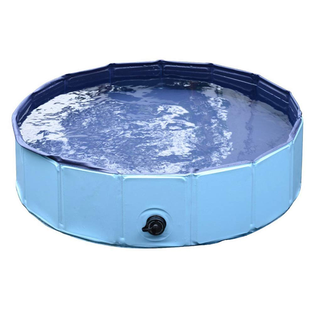 Foldable Dog Pet Bath Pool Collapsible Bathing Tub Bathtub Portable Wash Tub Water Pond Swimming Pool for Dogs Cats and Kids Round PVC bluee Colour