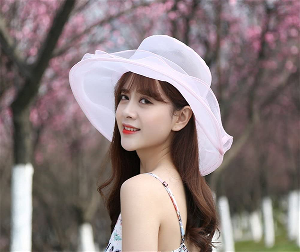 Leisial Women Lady Sun Hat Floral Ogaza Wide Brim Flat Top Hat Elegant Ascot Race Derby Hat Church Hat Summer Beach Cap for Party or Outgoing Travel Foldable and Breathable