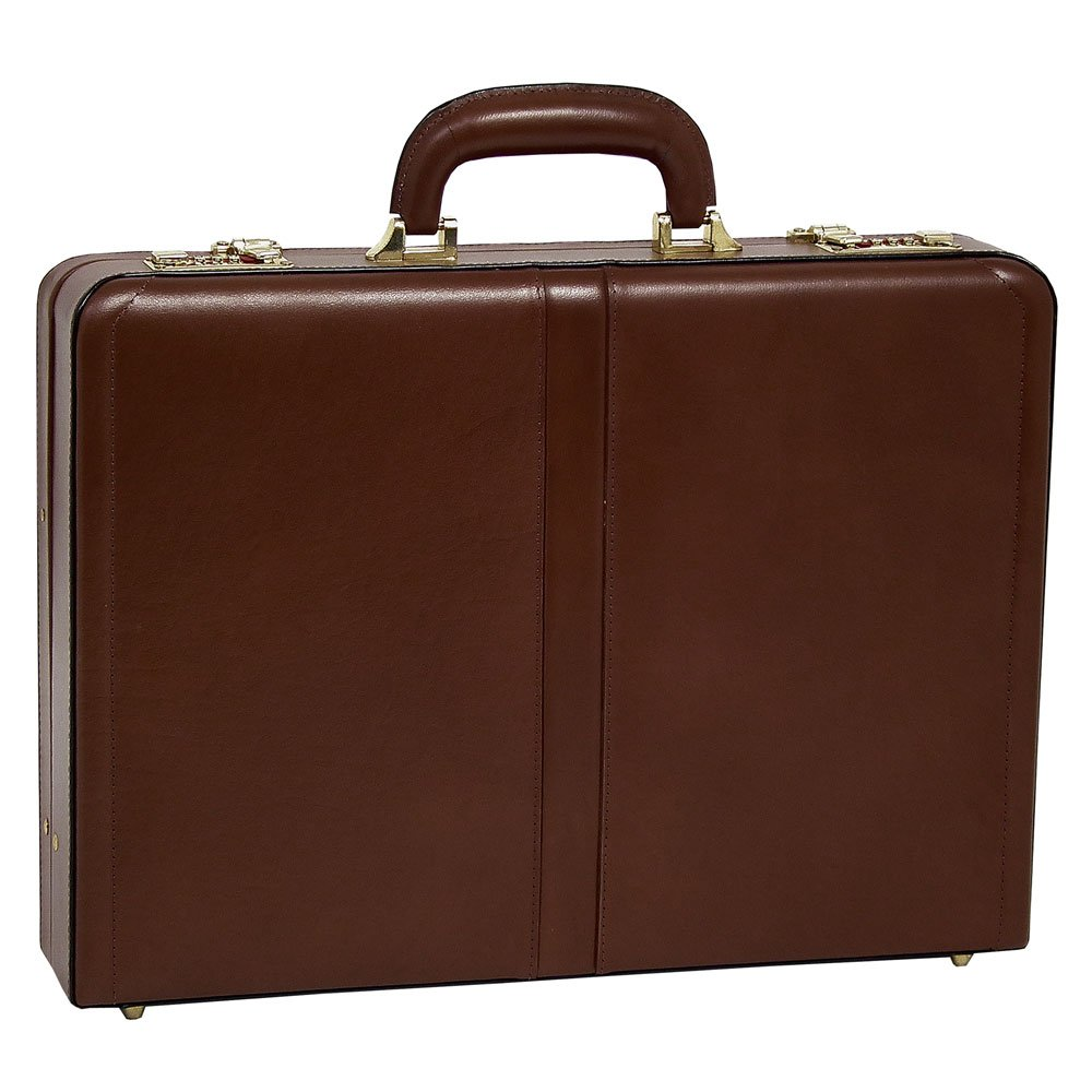 McKlein USA Reagan Slim Attache Case V series Leather 18'' Briefcase in Brown by McKlein USA