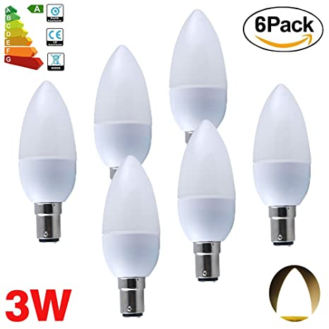 ALBRIGHT (6 Pack) B15 Bombillas LED Vela 3W, LED luz de vela Lámpara