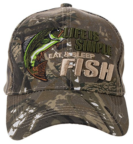 Artisan Owl Life is Simple - Eat, Sleep, Fish Camo Hat - Funny Fishing Gift - 100% Cotton Embroidered Cap