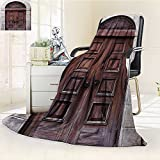 AmaPark Digital Printing Blanket Rustic Arched Wooden Venetian Door with Islamic Royal Ottoman Elements Summer Quilt Comforter