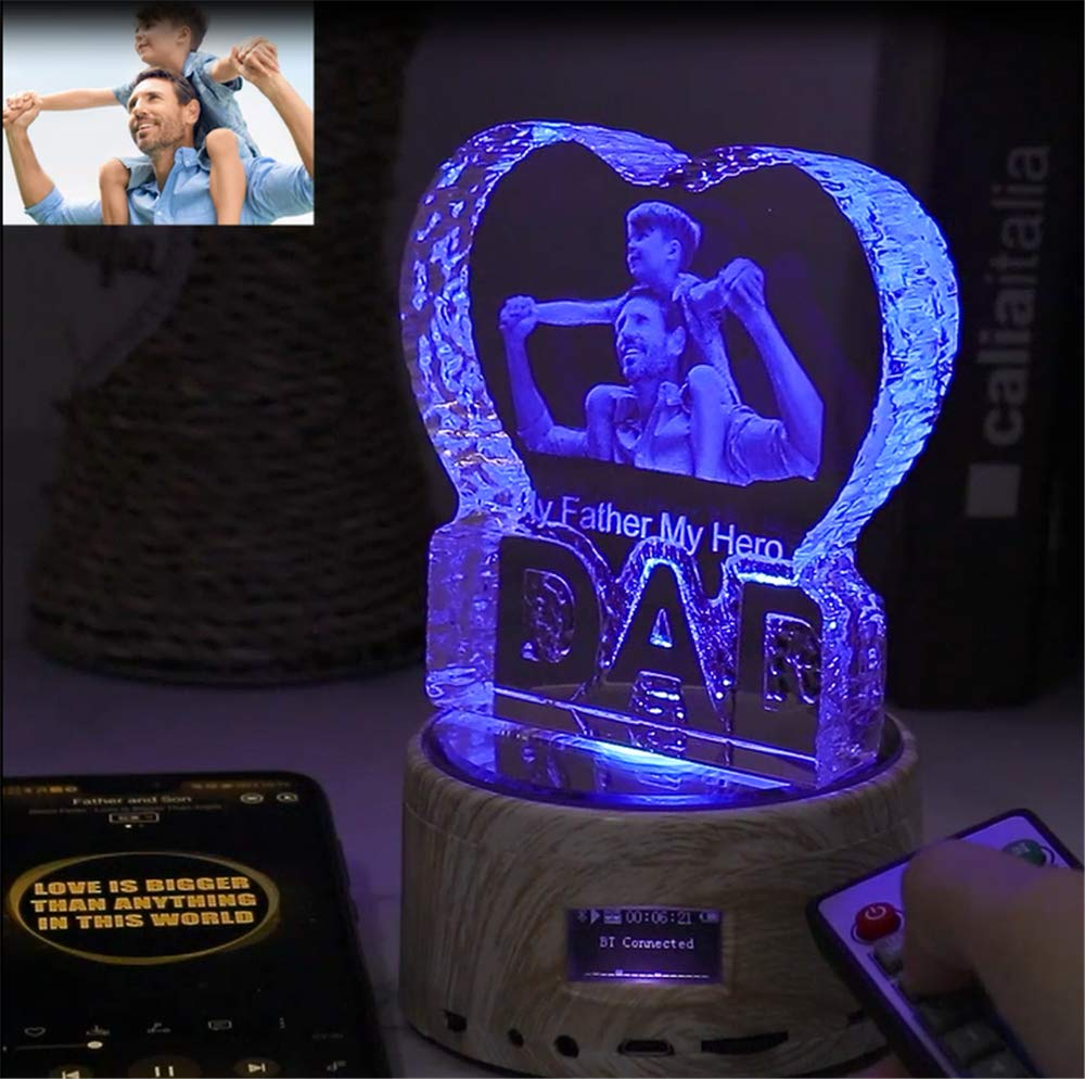 Father Day Personalise Engraved Crystal 3D Dad Colorful LED Light Music Box Bluetooth Base 6 Color Lights Gradient by prodigal (Image #4)