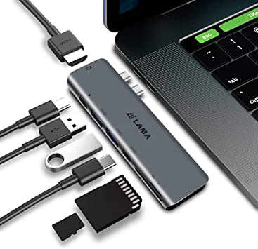 Type-C Thunderbolt 3 Multi Ports 6-in-1 Hub Adapter Dual USB 3.0 for MacBook Pro