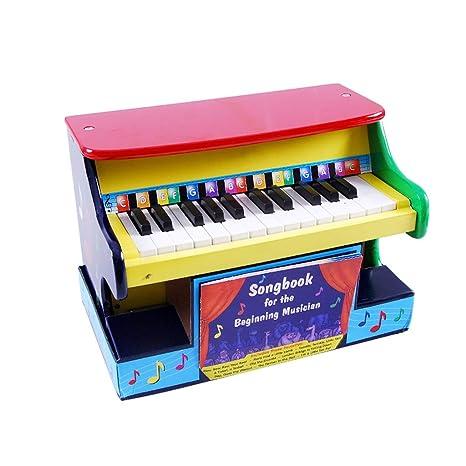 LIUFS-El teclado Pequeño piano para niños Alambre de mesa de madera Piano de 25