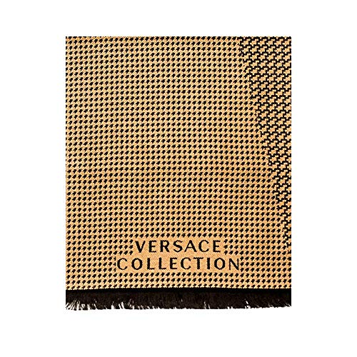Versace Collection Men's Wool Scarf Toothhound BEIGE BLACK from Versace