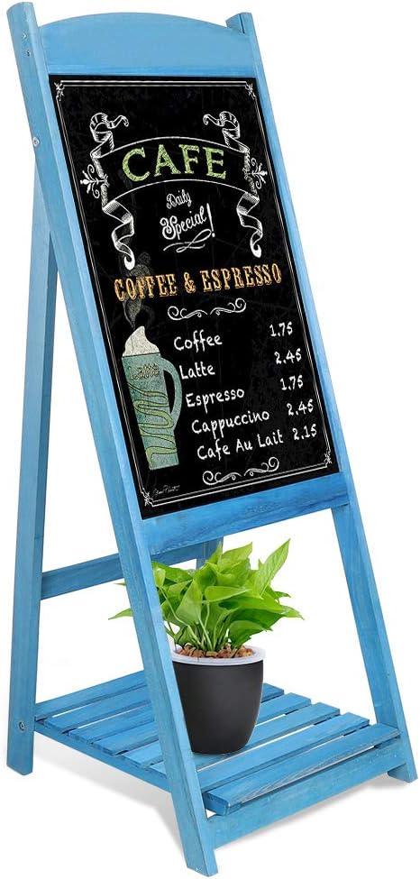 Color Azul Pizarra Publicitaria con Caballete Magn/ético y Estante de Flores Estilo Vintage Medla Pizarra de Pie de Madera para Cafeter/ía Restaurante Librer/ía Bar