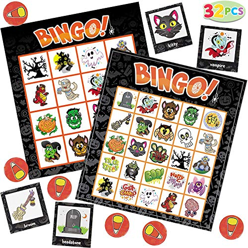 JOYIN 32 Halloween Bingo Game Cards (4x4 & 5x5) – 16 Players for Halloween Party Card Games, School Classroom Games, Trick or Treating, Halloween Party Favors Supplies, Family -
