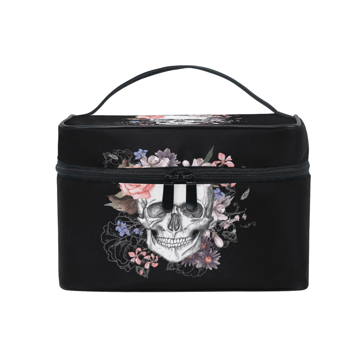 KUWT Sugar Skull and Rose Women Travel Makeup Bag Portable Cosmetic Train Case Toiletry Bag Beauty Organizer (19 Design)