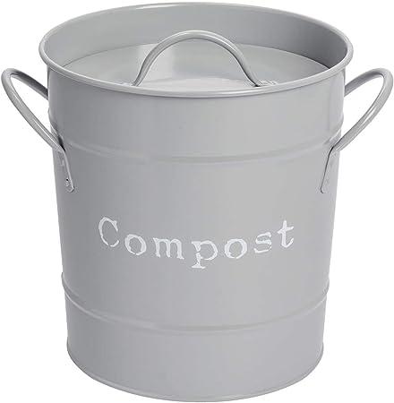 Amazon Com Harbour Housewares Industrial Compost Bin Vintage Style Steel Kitchen Storage Bucket Removable Inner Grey Kitchen Dining