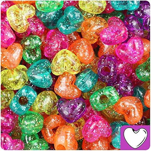 BEADTIN Jelly Mix Sparkle 12mm Heart Pony Beads (250pc)