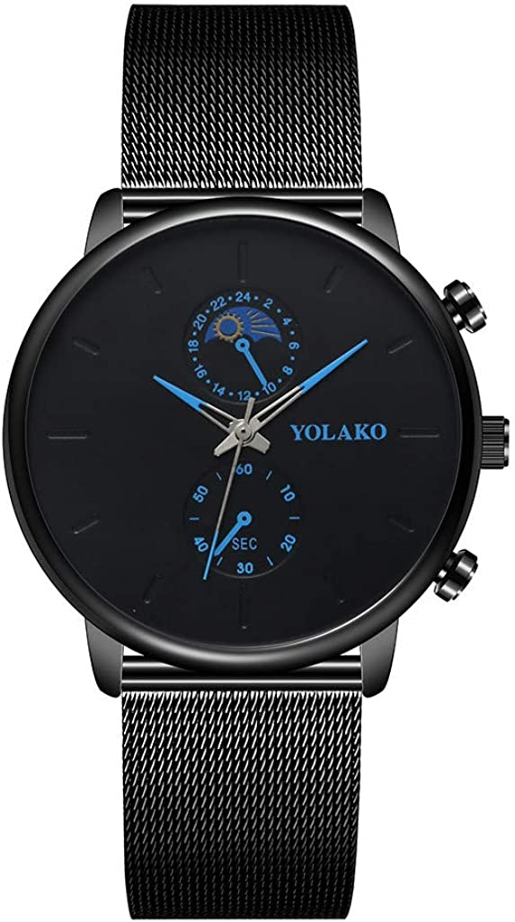 Moda Relojes Hombre Elegante Vestir 2020 Nueva,Reloj De Pulsera AnalóGico con Correa De Acero Inoxidable De Cuarzo Yolako para Hombre