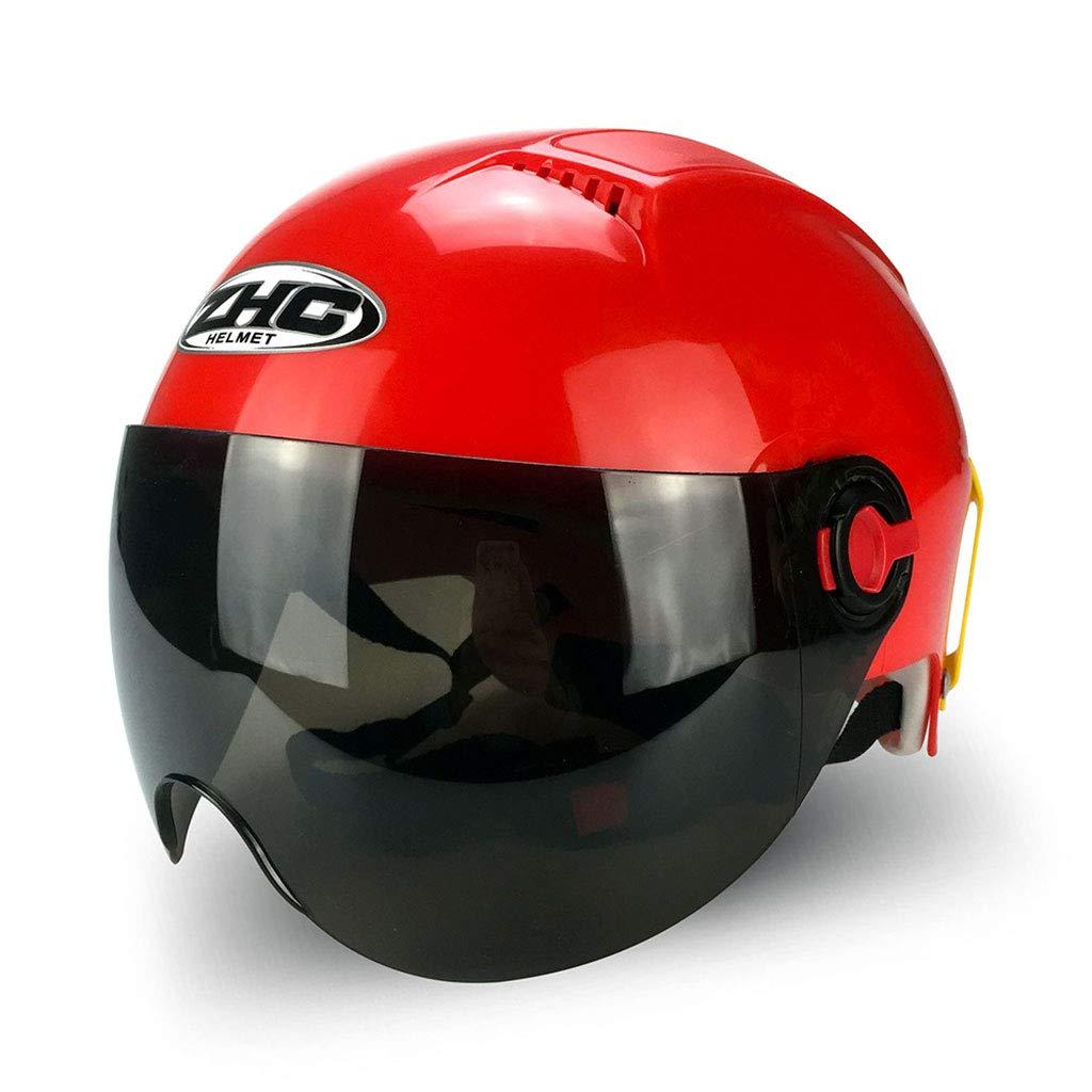 Sportschutzausrüstung- Harley Helm Motorradhelm Voller Helm Reithelm Schutzkappe Belüftung (Farbe : ROT)