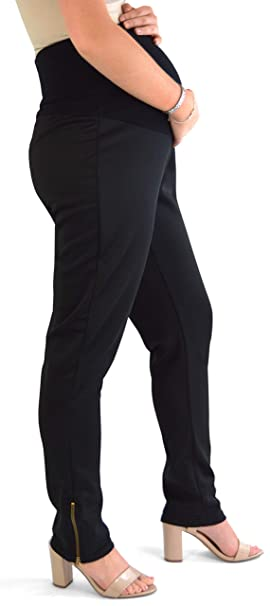 15ce217c584fb Black Slim Leg Maternity Over The Bump Trousers with Ankle Zip - Long Tall  Leg: Amazon.co.uk: Clothing