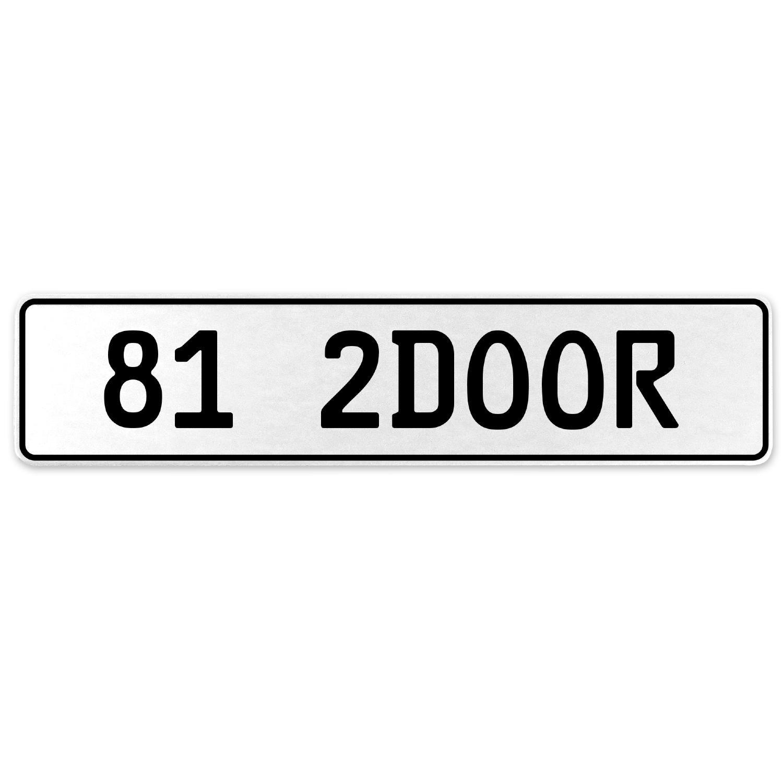 Vintage Parts 557945 81 2DOOR White Stamped Aluminum European License Plate
