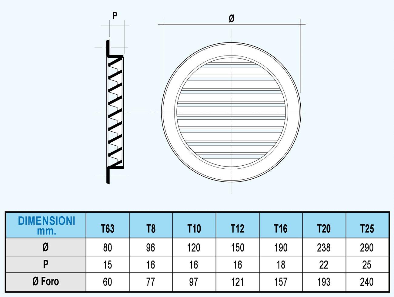 di/ámetro 120/mm La ventilaci/ón t10drb Rejilla de ventilaci/ón de pl/ástico redondo empotrable blanco