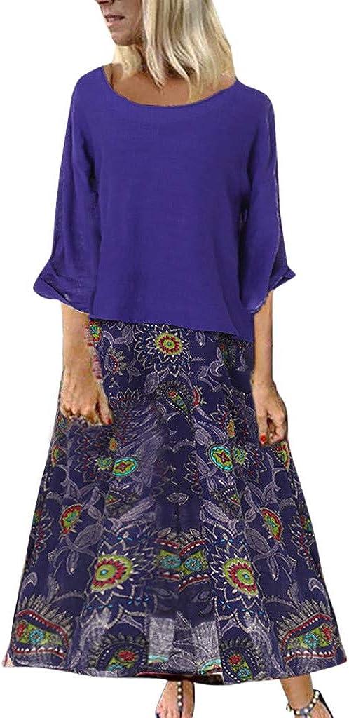 Womens Vintage Patchwork Party Dress Summer Boho Floral Print Tank Long Maxi Dress Scoop Neck Party Beach Sundress