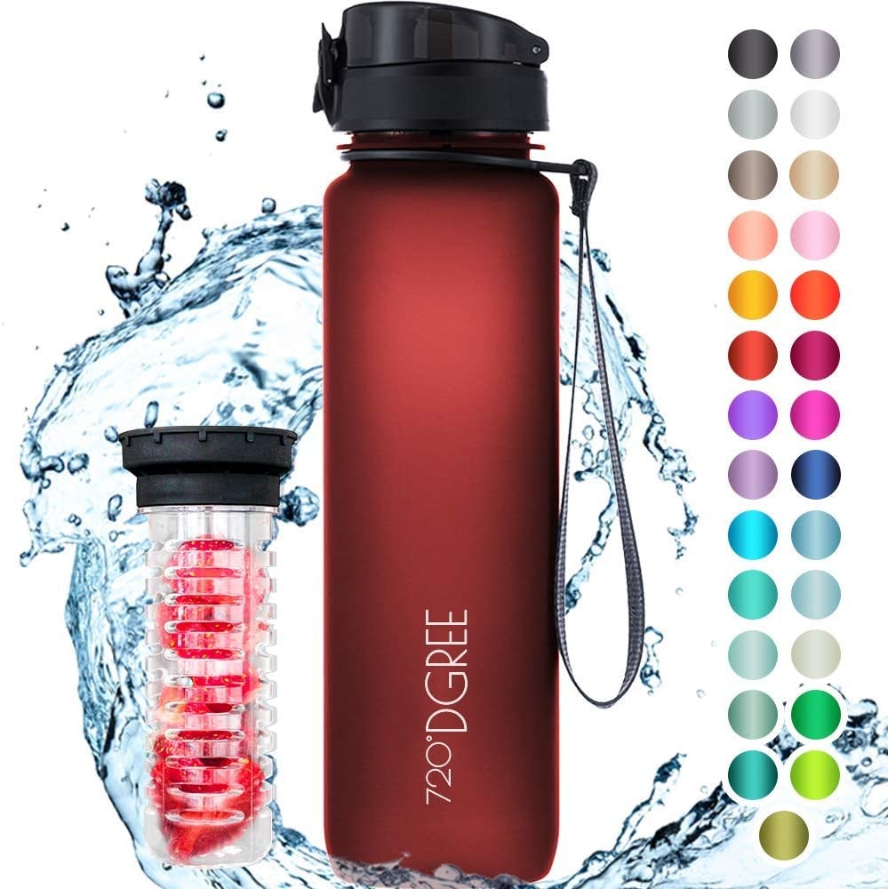 "720°DGREE Water Bottle""uberBottle"" +Fruit Infuser - 1L - BPA-Free, Leakproof - Reusable Tritan Sports Bottle for Fitness, Workout, Bike, Outdoor, Yoga, Hiking - Lightweight, Unbreakable, Sustainable"