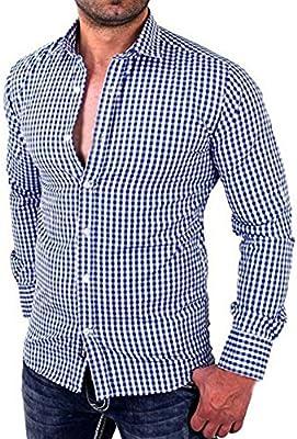 Hombres camisas de manga larga a cuadros Hombres camiseta slim fit business casual (L, Azul): Amazon.es: Hogar