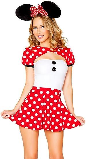 Vestido para mujer, 3 piezas, blanco y de punto rojos, Minnie ...