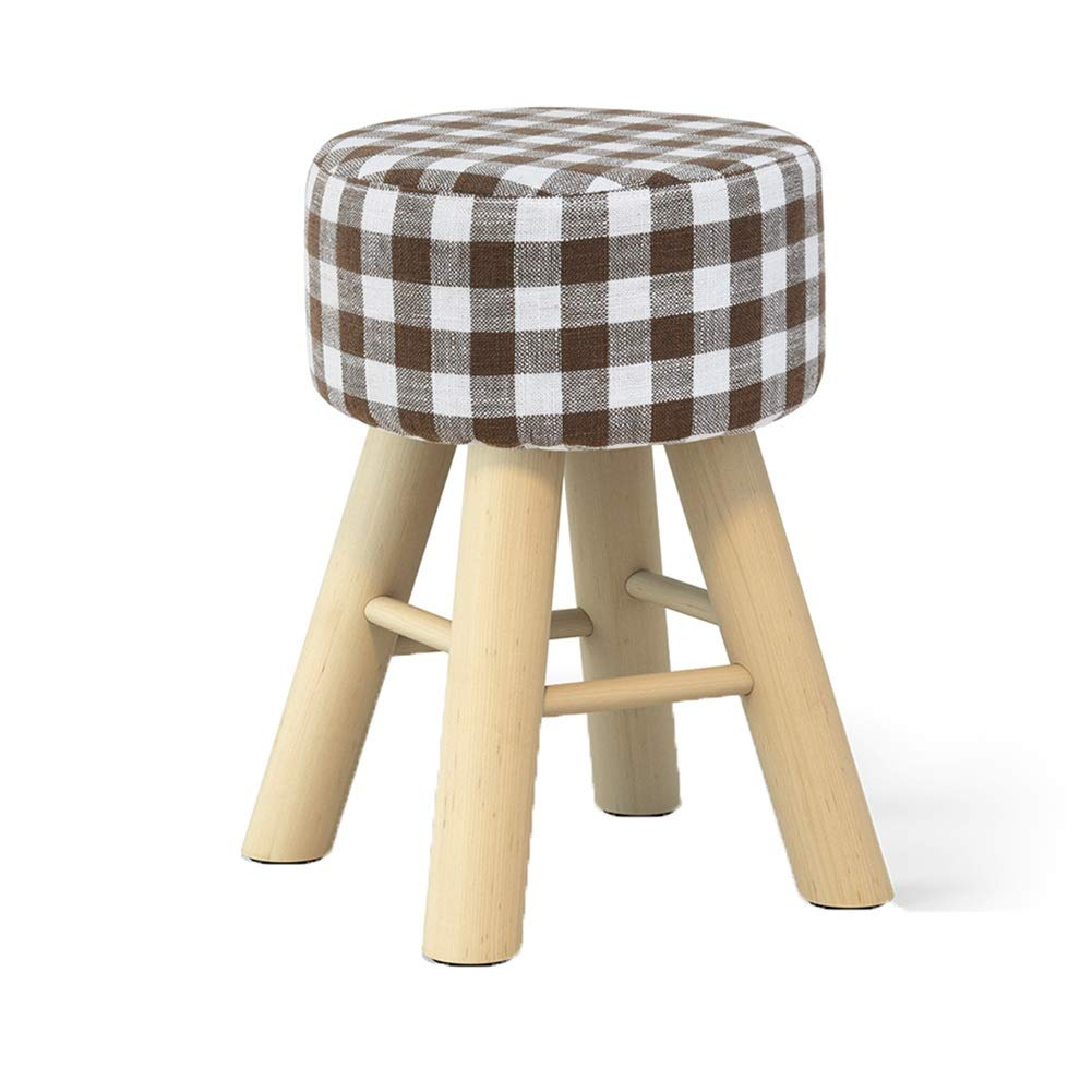 Lattice 4229cm ZHAOYONGLI Footstools,Otools Solid Wood Creative Sofa Stool Living Room Stool Household Cloth Small Bench Change shoes Bench (color   Stripe, Size   42  29cm)