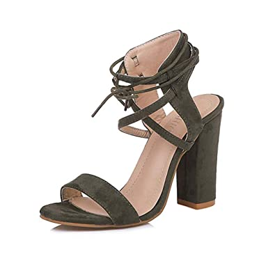 f7652092cd MayBest Womens Spring Summer Chunky Heel Sandals Peep Toe Shoes Lace Up  Party Beach Sandals Army