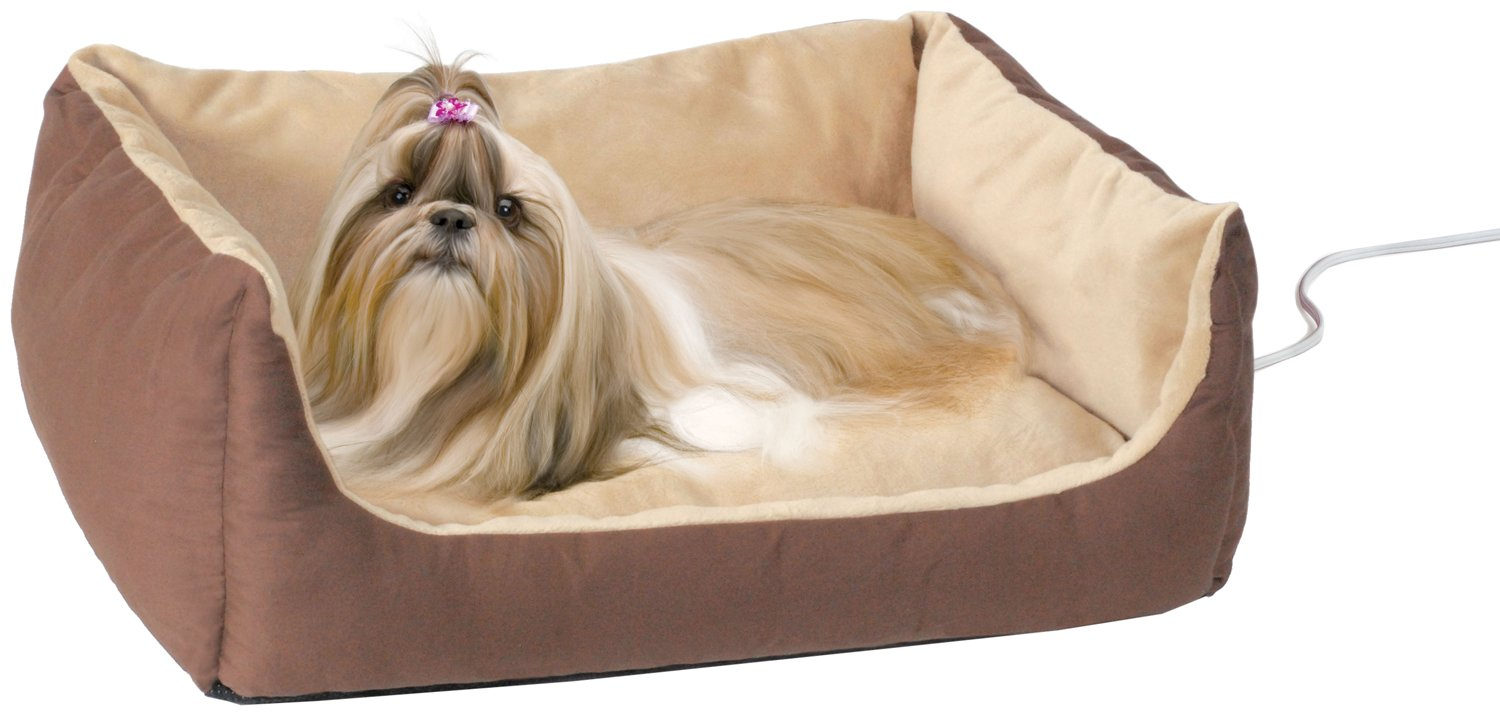 K&H Pet Products Thermo-Pet Cuddle Cushion Heated Pet Bed Mocha 14'' x 23'' 4W
