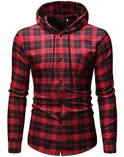 WAWAYA Men Plus Size Formal Slim Long Sleeve Dress Checkered Shirt