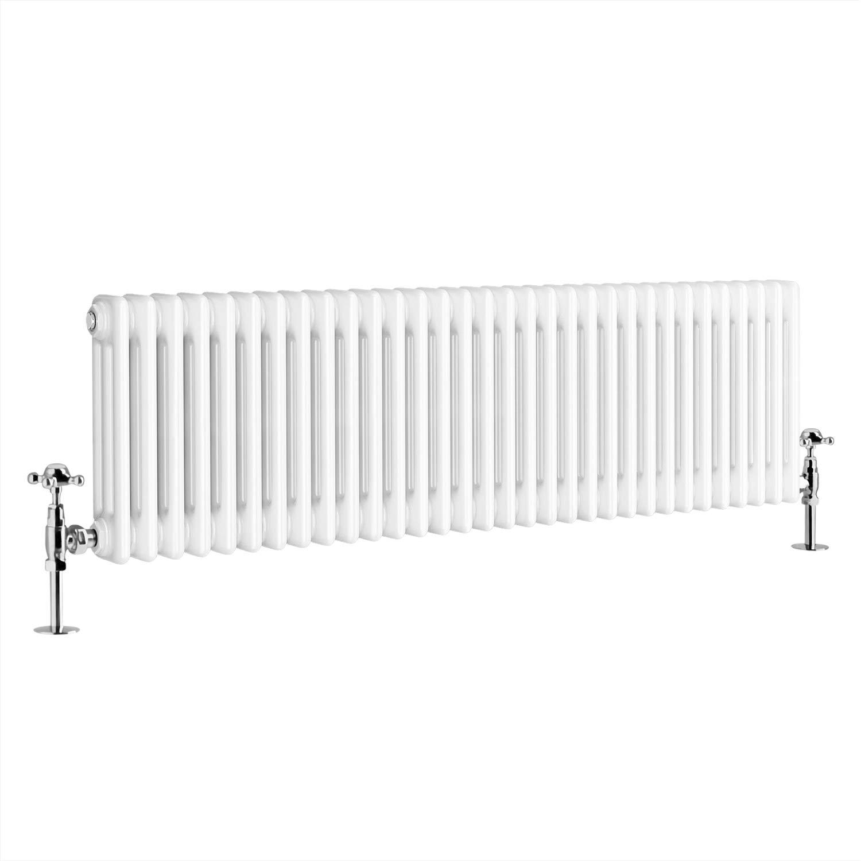 NRG 300 x 830 mm Traditional White Horizontal Cast Iron Radiator Double Panel