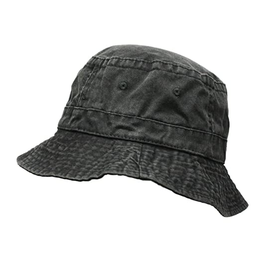 76099b12628 Washed Pigment Dyed Cotton Twill Bucket Hats (Black) at Amazon Men s ...