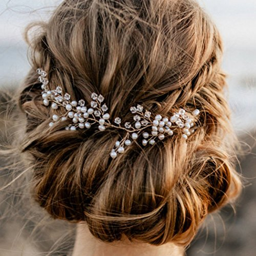 Artio Bride Wedding Hair Vine Accessory with Crystals Silver Flower Hair Piece Rhinestone Bridal Headpiece for Bride