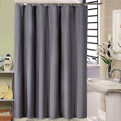MORECARE Dark Gray Heavy Duty Fabric Shower CurtainWater Repellent Thickening Polyester Bathroom Bathtub