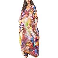 YouKD Vestido Largo Bohemio Largo de Kaftan Largo de Verano para Mujer Bata de Playa Kimono Espacioso Talla única