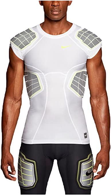 Nike Mens Pro Combat Hyperstrong 3.0 Compression 4 Pad Football Shirt White Large by