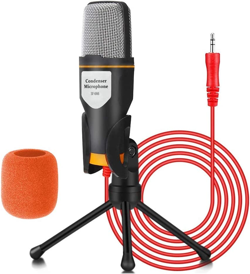 Condenser Computer Microphone SF666 with Tripod Stand for PC, Laptop, iOS Android Phones, Tablets, Xbox and YouTube Recording, Black