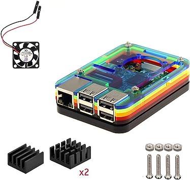 Para Raspberry Pi 3 Model b Kit , 7 Capas Caja , Ventilador ...