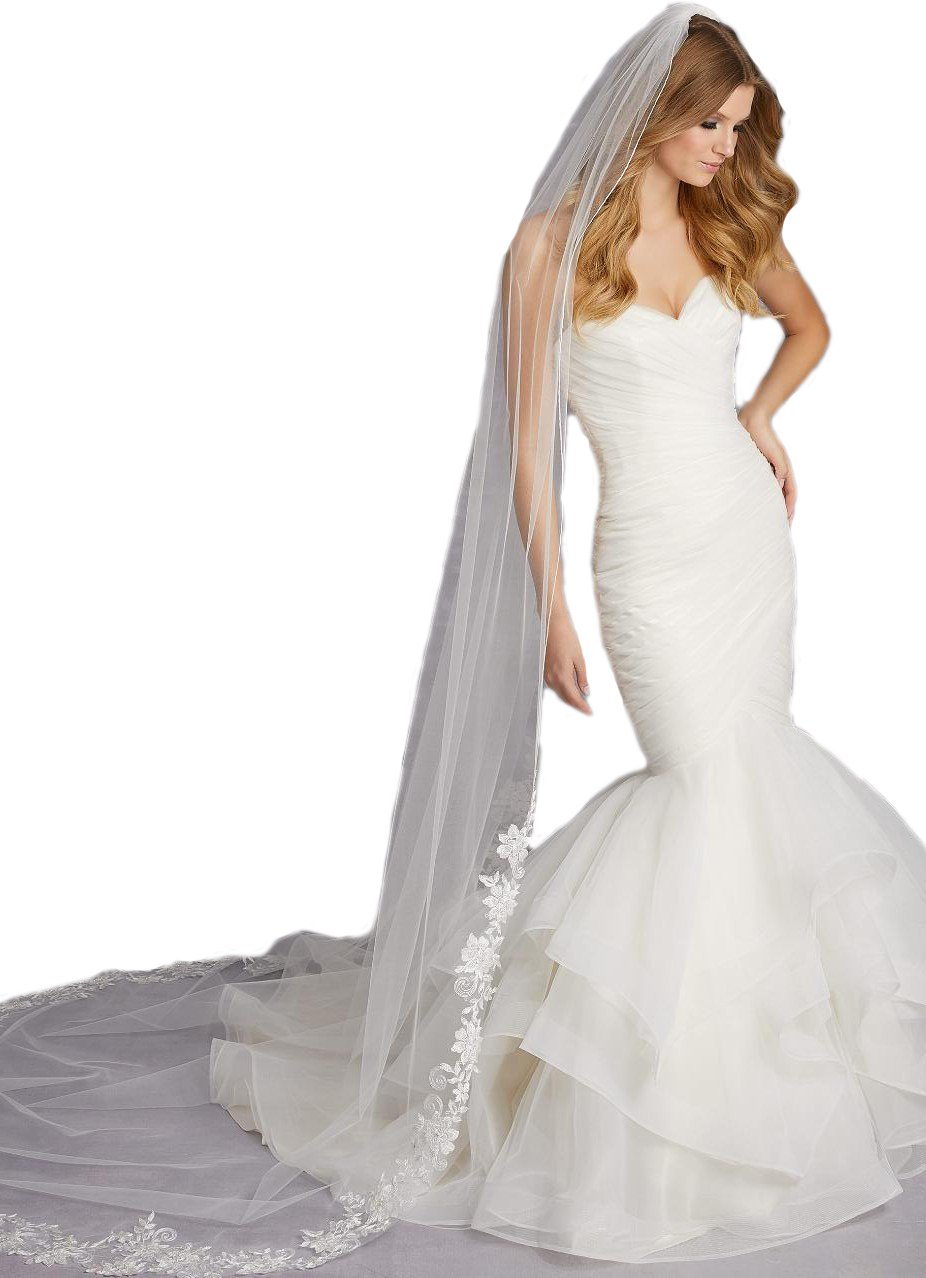 Passat Ivory 1T Long Cathedral Stitched Edge Veil with Gold Lace Swarovski Rhinestones VL-1023