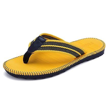 9257bc9359700b Image Unavailable. Yellow Flip Flops Summer Men s Outdoor Beach Shoes Soft  Bottom Anti Slip ...