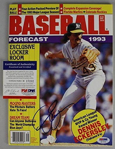 Athletics Dennis Eckersley Signed 93 Baseball Magazine #H17232 - PSA/DNA Certified - Autographed MLB Magazines
