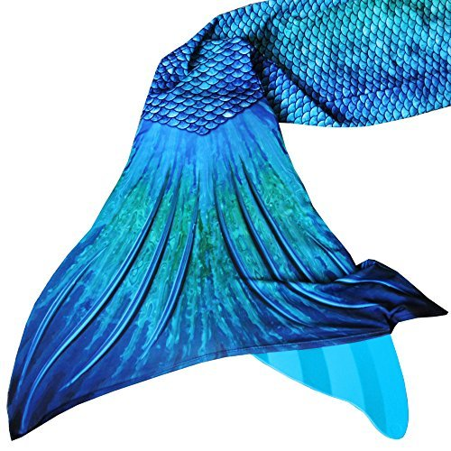 Sun Tails Mermaid Tail + Monofin for Swimming (4- Teen/Adult S (JS 4-6), Blue Lagoon - Turquoise Monofin)