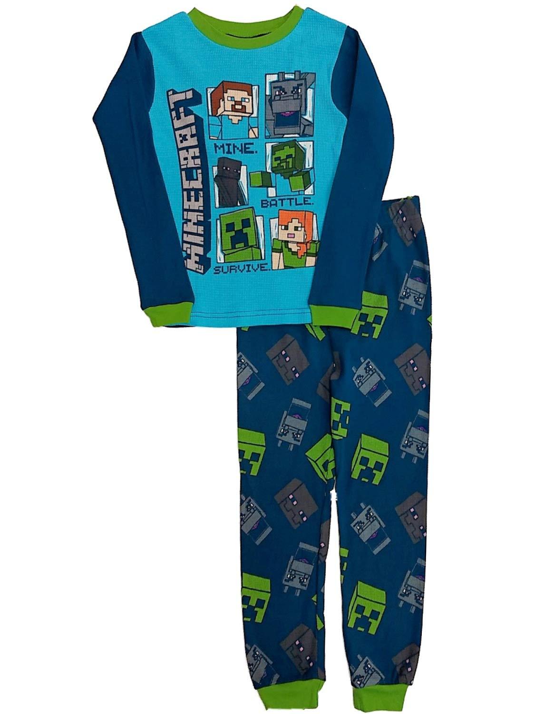 Boys Blue Minecraft Baselayer Set Mine Craft Thermal Underwear Long Johns by Mojang