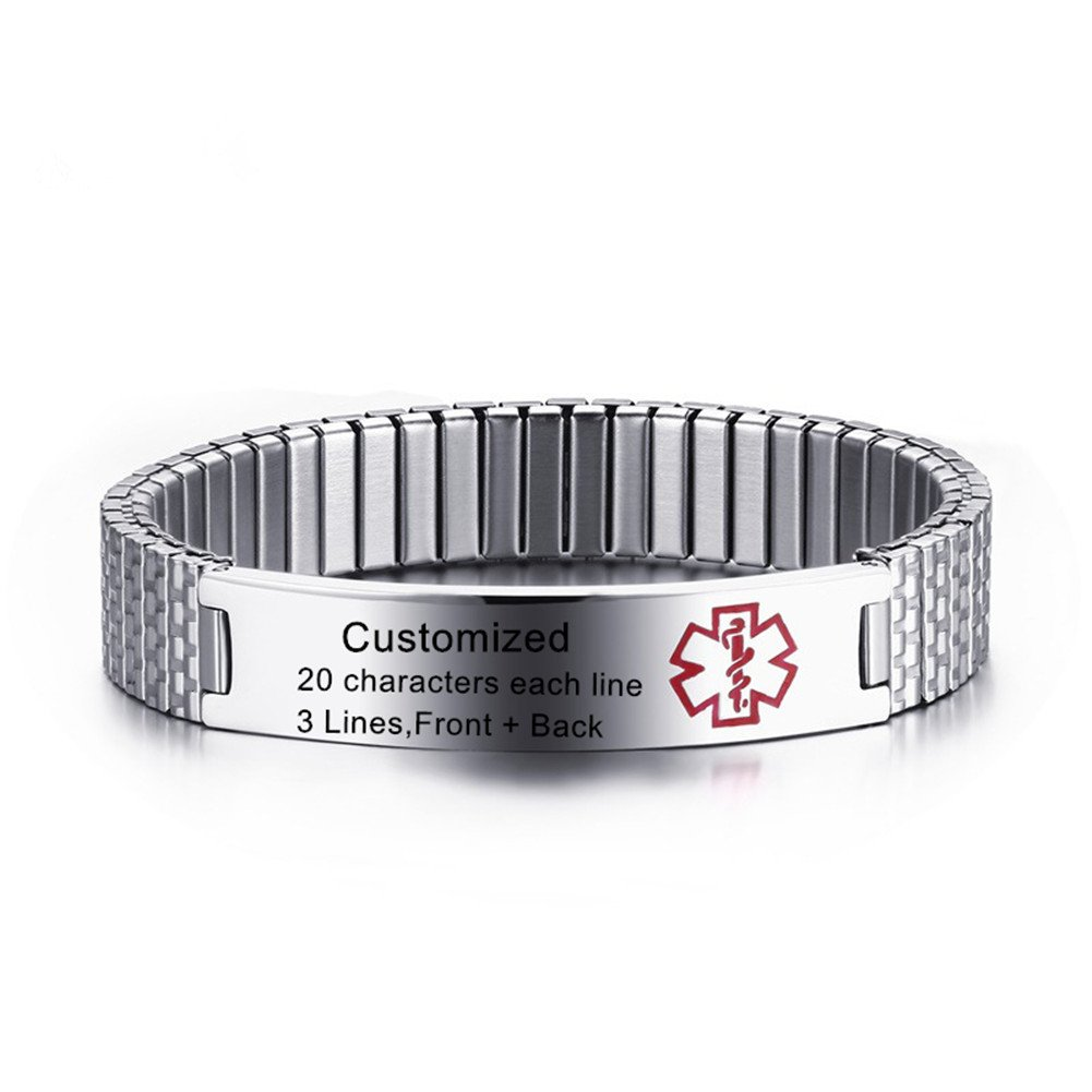 LiFashion LF Free Engraving Mens Womens Kids Stainless Steel Medical Alert Expandable Bracelets Health Alert ID Tag Adjustable Bracelet Bangle Sos Emergency Personalized Customised