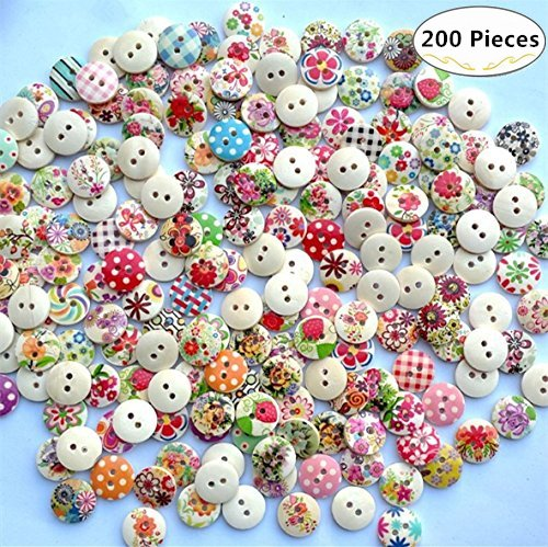 Favorite Findings Buttons (200 Pieces Assorted Pattern Round Wooden Painting Buttons, Magnolora 2 Holes Craft Resin Buttons Favorite Findings Basic Buttons for Sewing, Arts, DIY Crafts, Decoration and Fasteners Scrapbooking)