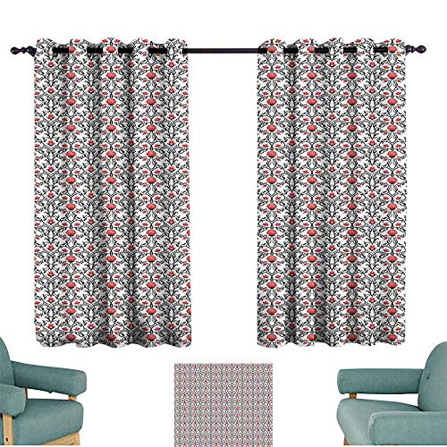 Mannwarehouse Art Nouveau Privacy Curtain Swirled Baroque Branches with Tulip Blooms Rococo Nostalgic Rose Pattern 70%-80% Light Shading, 2 Panels,55