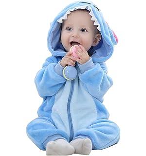 598601073be3 Amazon.com  Unisex Baby Flannel Romper Animal Onesie Costume Hooded ...