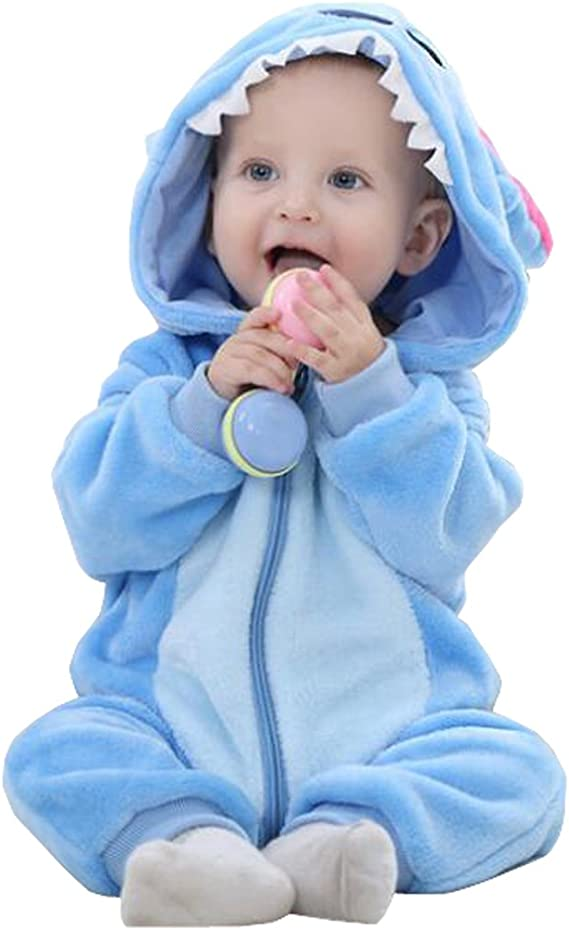 Infant Toddler Baby Cartoon Animal Winter Hooded Rompers Front Zipper Jumpsuit