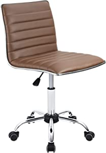 Furmax Mid Back Task Chair,Low Back Leather Swivel Office Chair,Computer Desk Chair Retro with Armless Ribbed (Brwon)