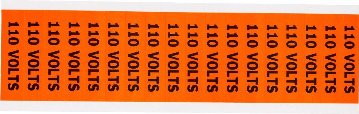 Brady 1/2'' X 2 1/4'' Black/Orange Coated Fabric Vinyl Label''110 VOLTS''