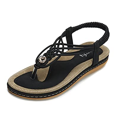 Womens Bohemian Braided Summer Thong Flip-flop Flat Slipper Sandal Casual Shoes