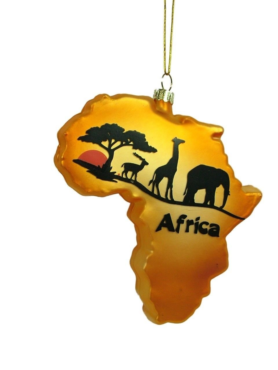 glass continent of africa african safari animals christmas tree ornament